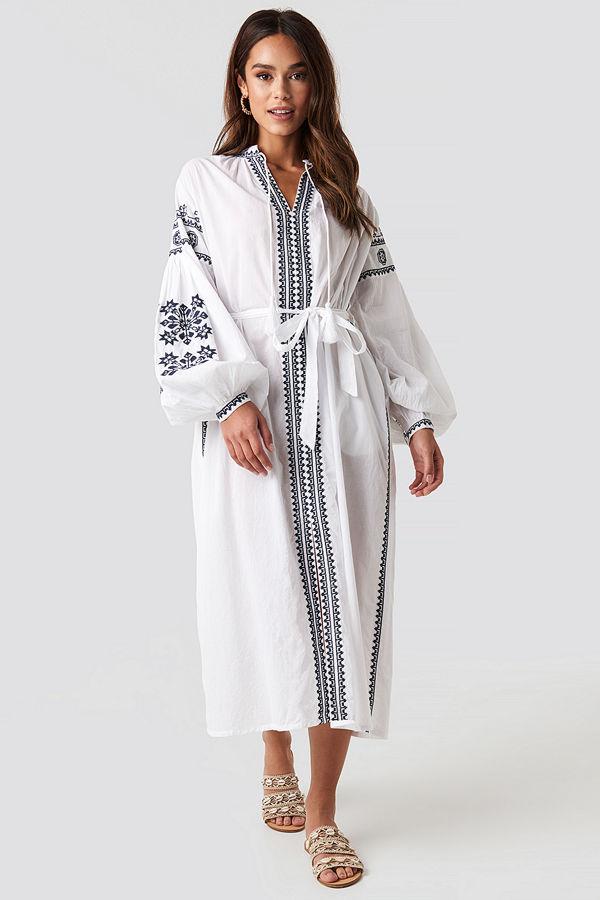 NA-KD Boho Tie Waist Embroidery Maxi Dress vit