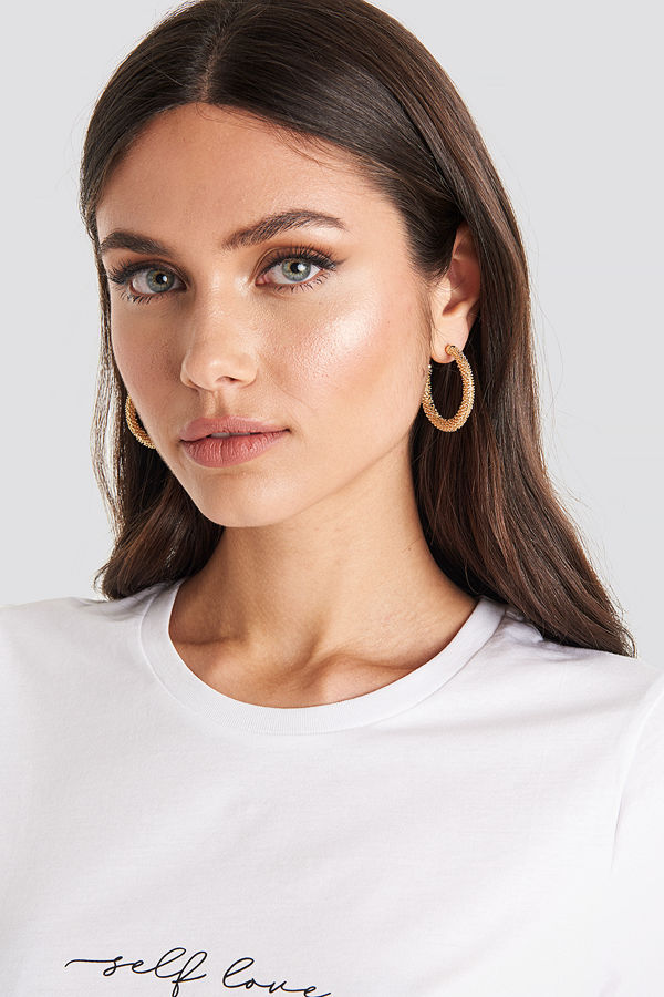 NA-KD Accessories smycke Textured Thick Hoops guld