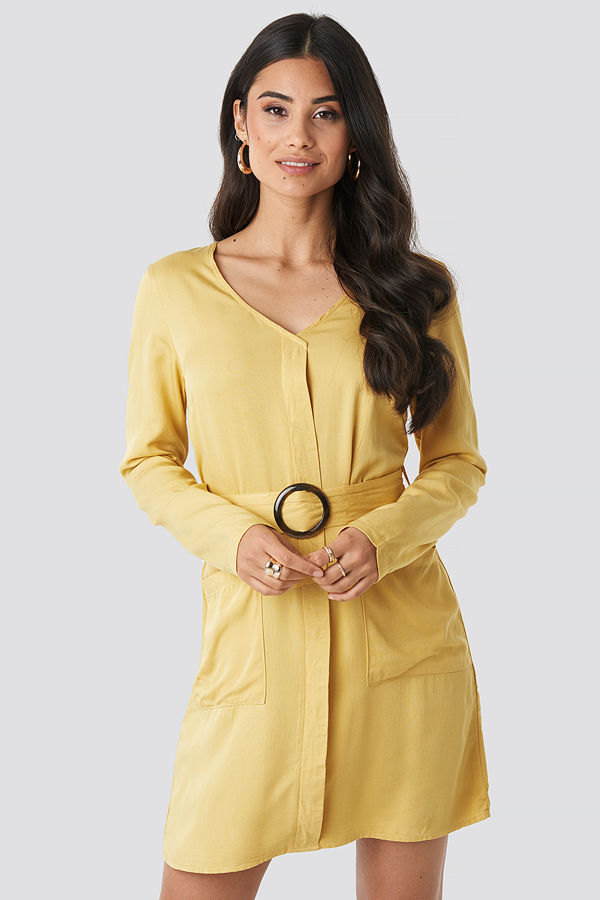 NA-KD Belted Long Sleeve Dress gul
