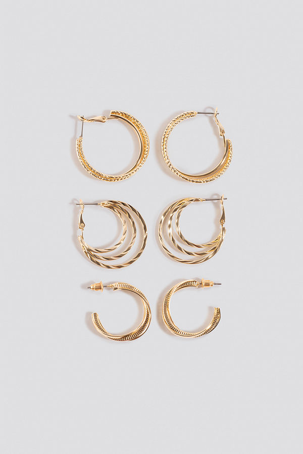 NA-KD Accessories smycke 3-Pack Layered Hoop Earrings guld