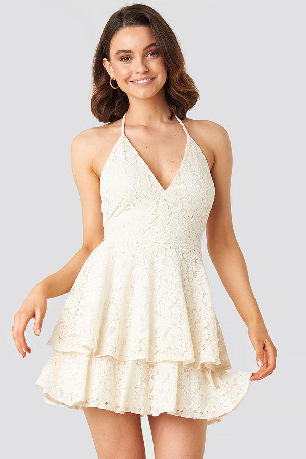 Queen of Jetlags x NA-KD Halter Neck Lace Dress beige
