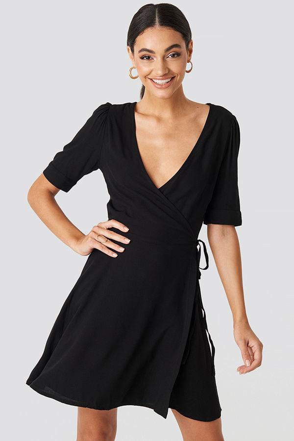 NA-KD Wrap Puff Sleeve Mini Dress svart