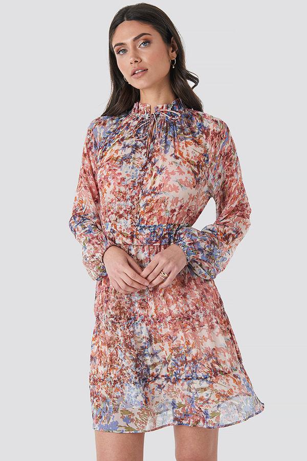 NA-KD Boho Frill V-Neck Chiffon Mini Dress multicolor