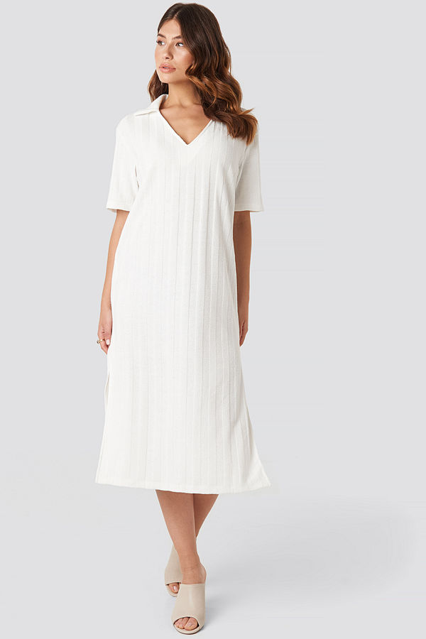 NA-KD Trend Collar V Front Knitted Dress vit