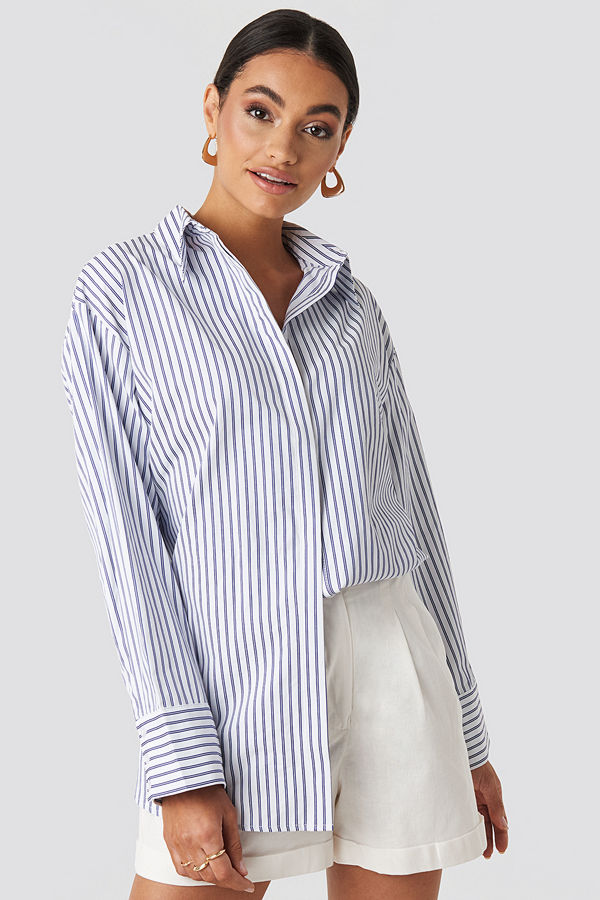 NA-KD Classic Maxi Oversized Striped Shirt vit blå