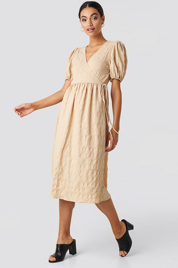 NA-KD Trend Structured Overlap Midi Dress beige