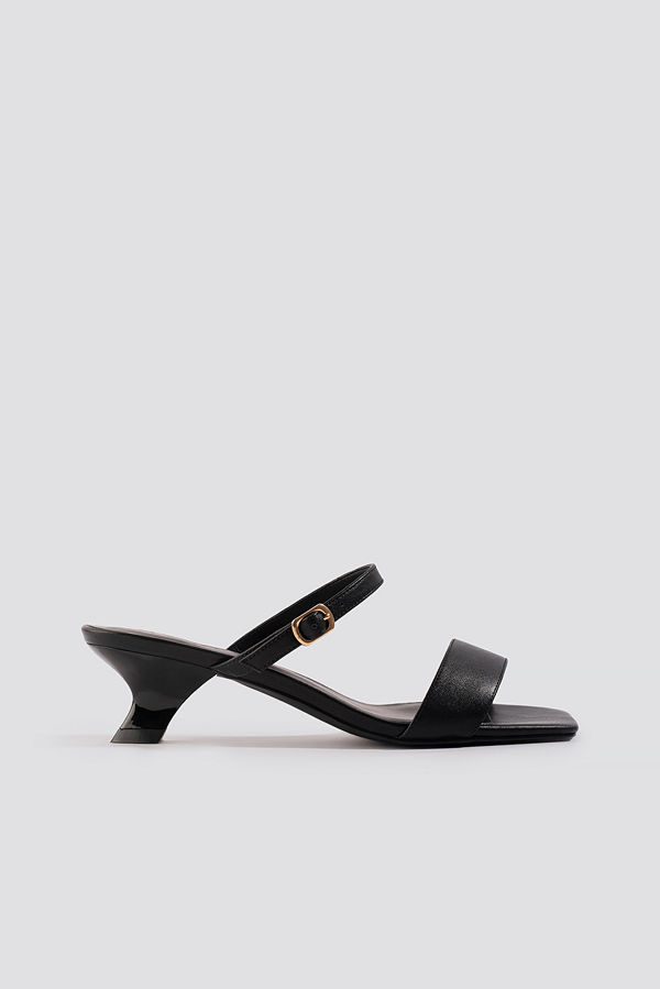 NA-KD Shoes Asymmetric Heel Squared Sandals svart