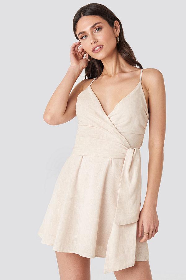 NA-KD V-neck Wrap Mini Dress beige