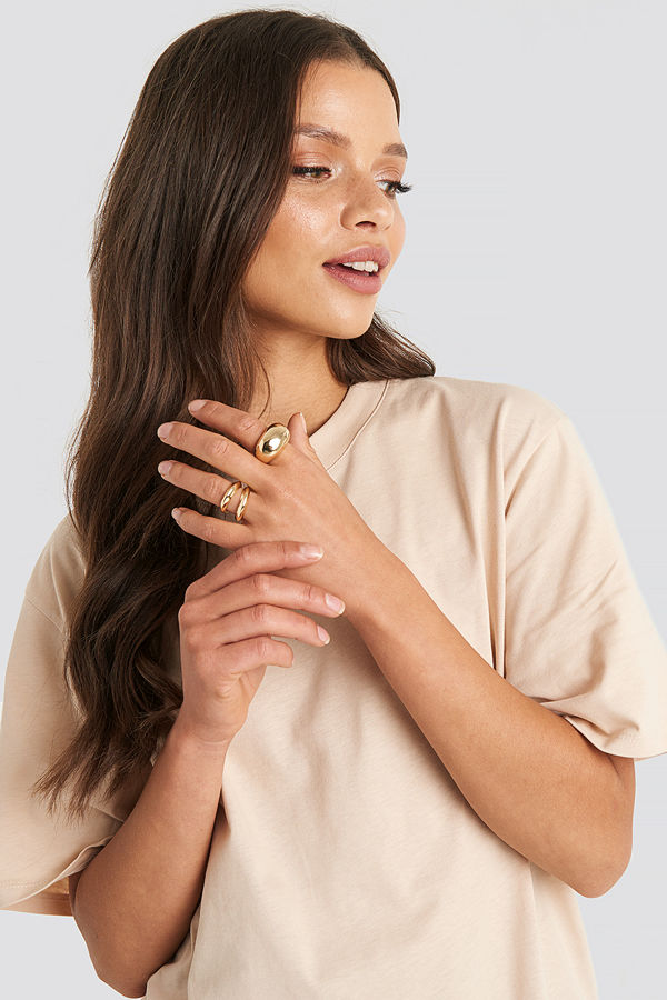 NA-KD Accessories smycke Chunky Double Rings guld