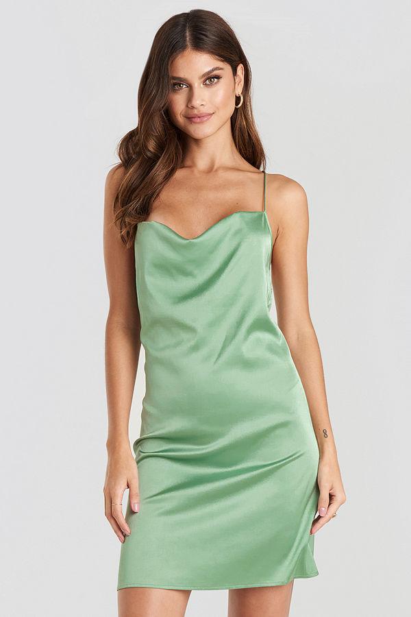 NA-KD Party Satin Waterfall Mini Dress grön
