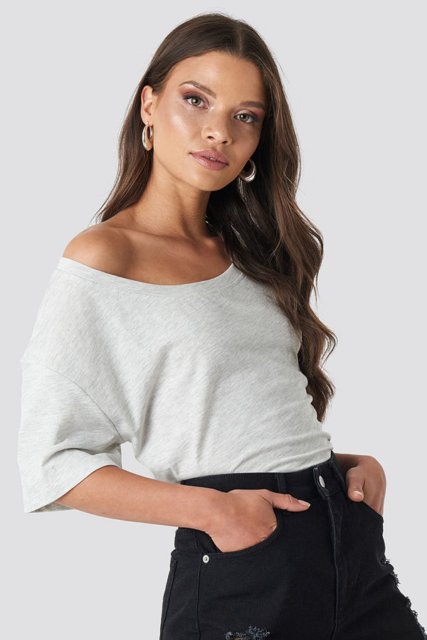 NA-KD One Shoulder T-shirt grå
