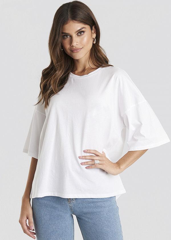 NA-KD Basic Oversized Boxy T-shirt vit