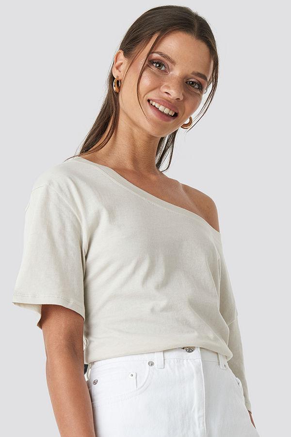 NA-KD One Shoulder T-shirt beige