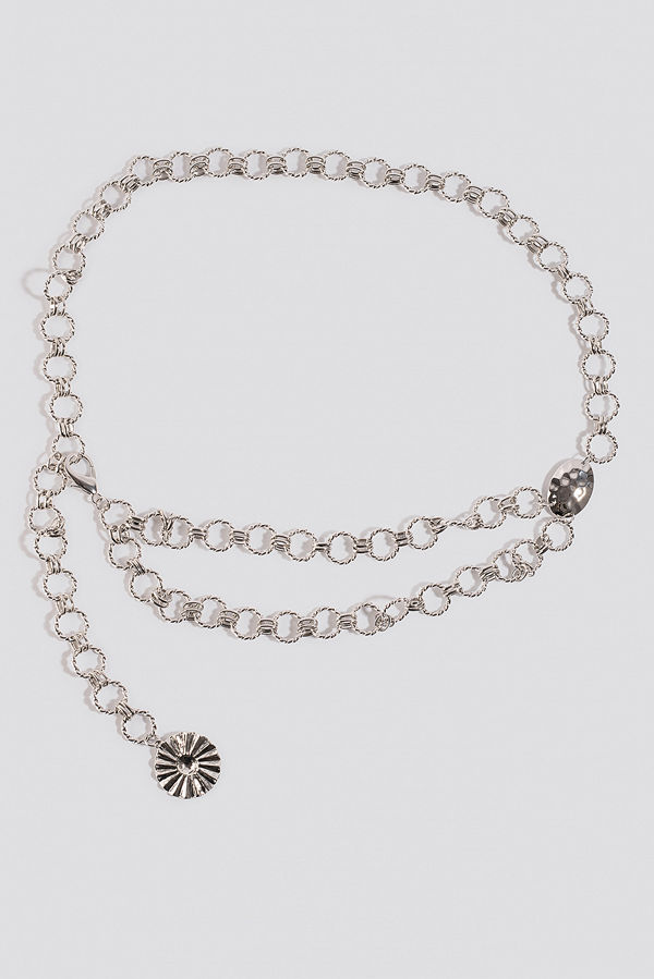 NA-KD Accessories Twisted Links Chain Belt silver