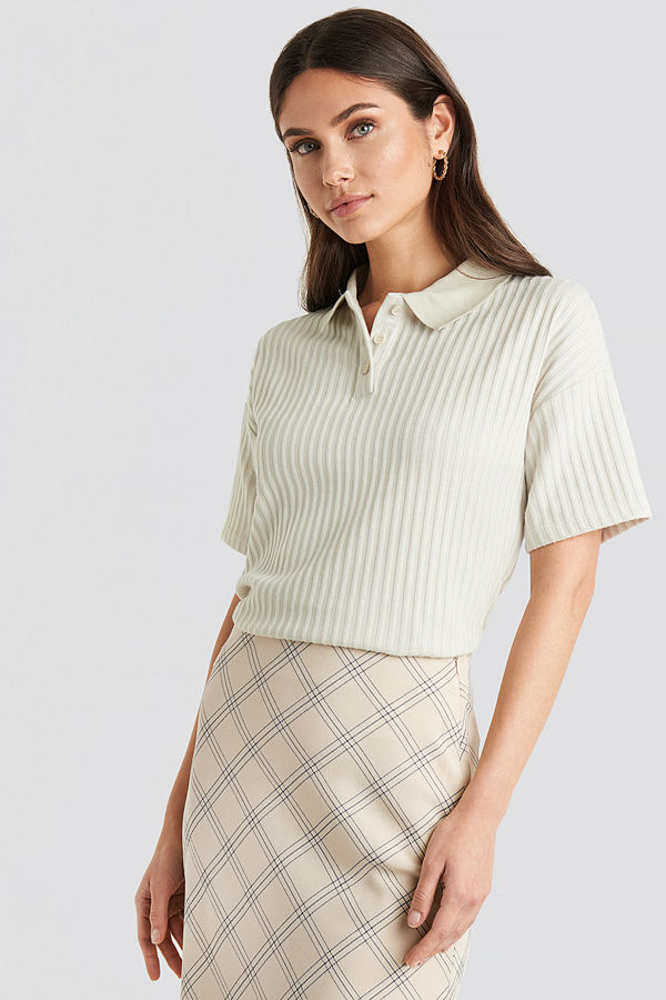 NA-KD Trend Ribbed Short Sleeve Sweater beige