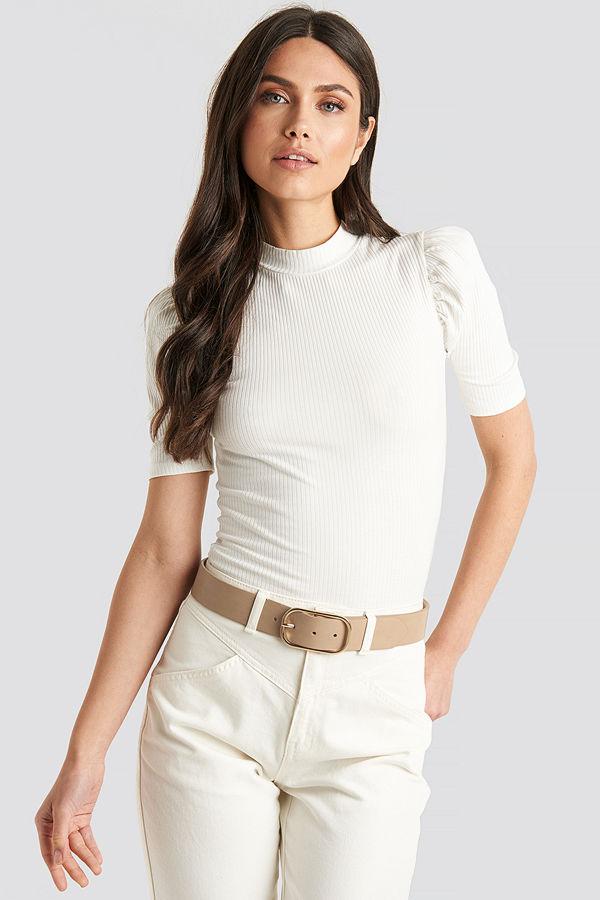 NA-KD Accessories Slim Oval Buckle Belt beige