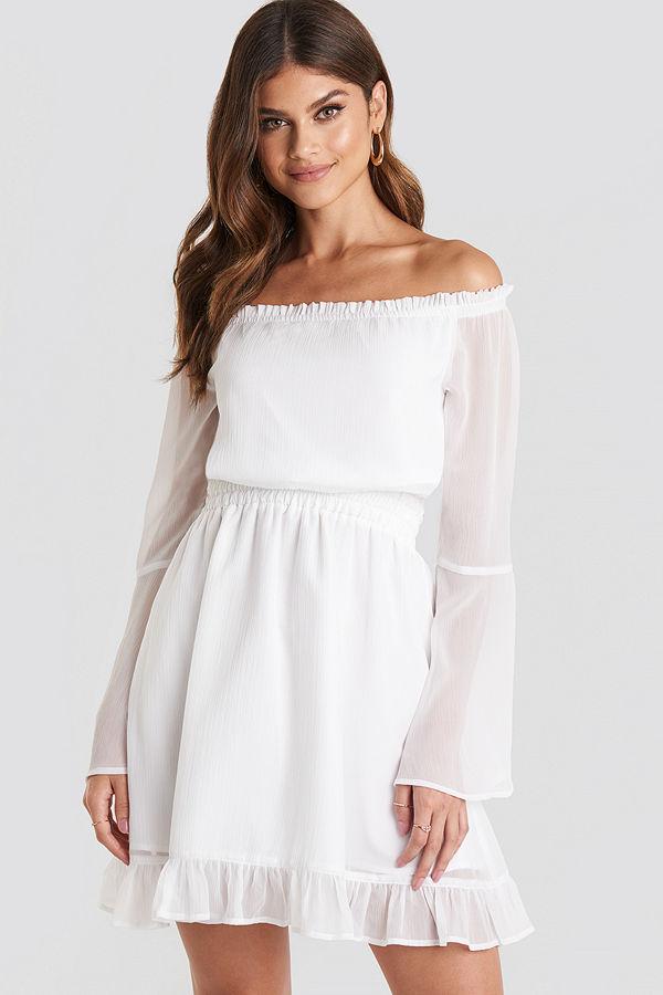Paulinye x NA-KD Off Shoulder Mini Dress vit