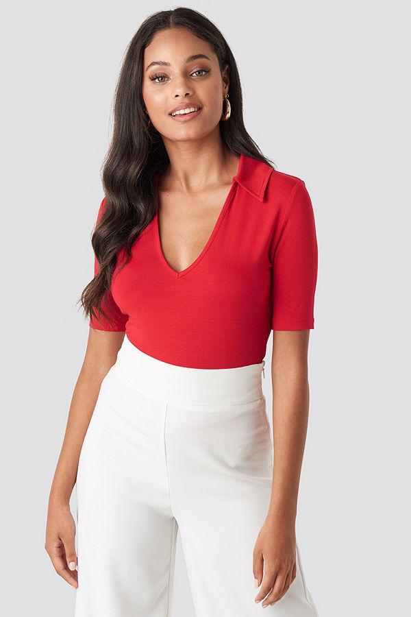 NA-KD Pique Collar Top röd