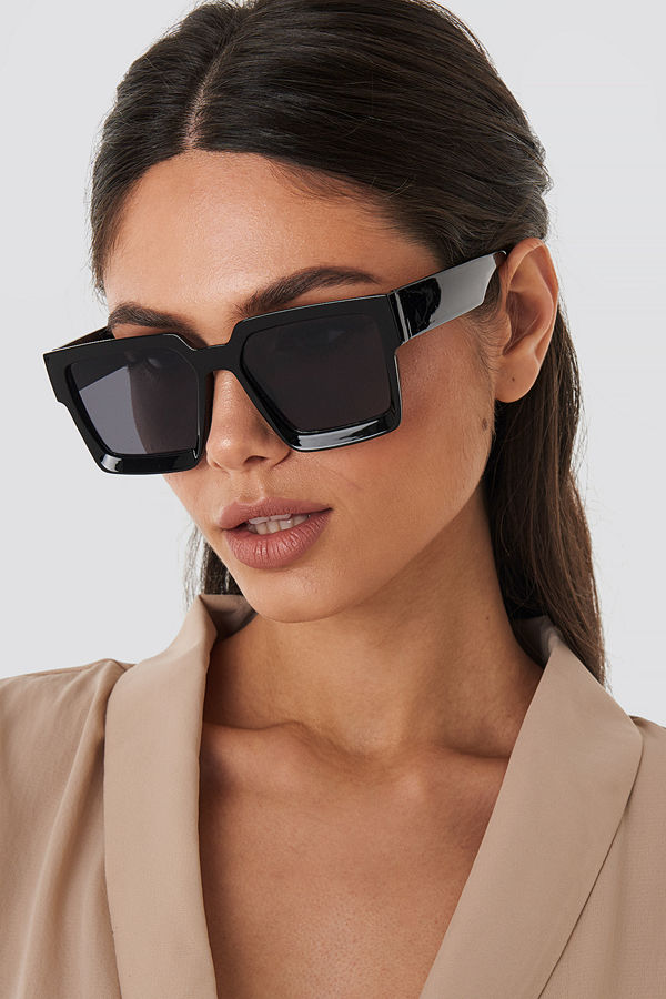 NA-KD Accessories Big Squared Edge Sunglasses svart