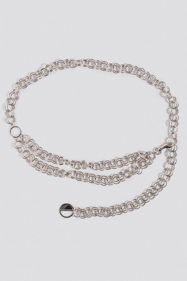 NA-KD Accessories Slim Links Chain Belt silver