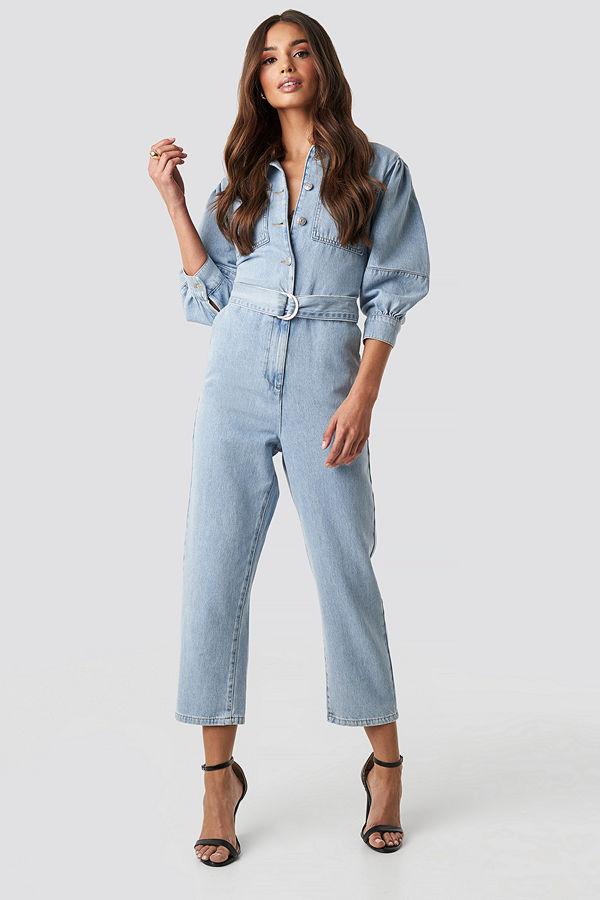 NA-KD Trend Puff Sleeve Jumpsuit blå