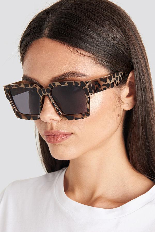 NA-KD Accessories Big Squared Edge Sunglasses brun