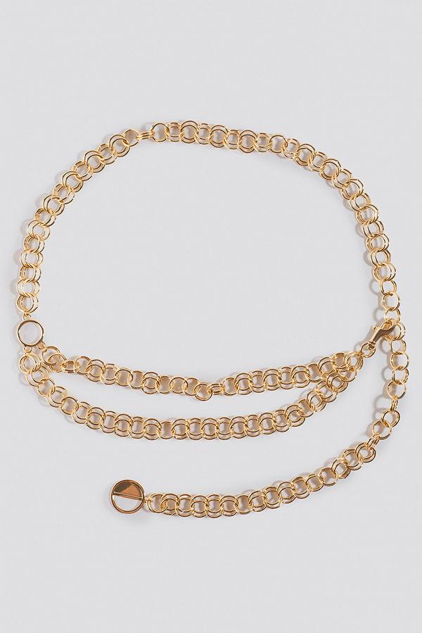 NA-KD Accessories Slim Links Chain Belt guld