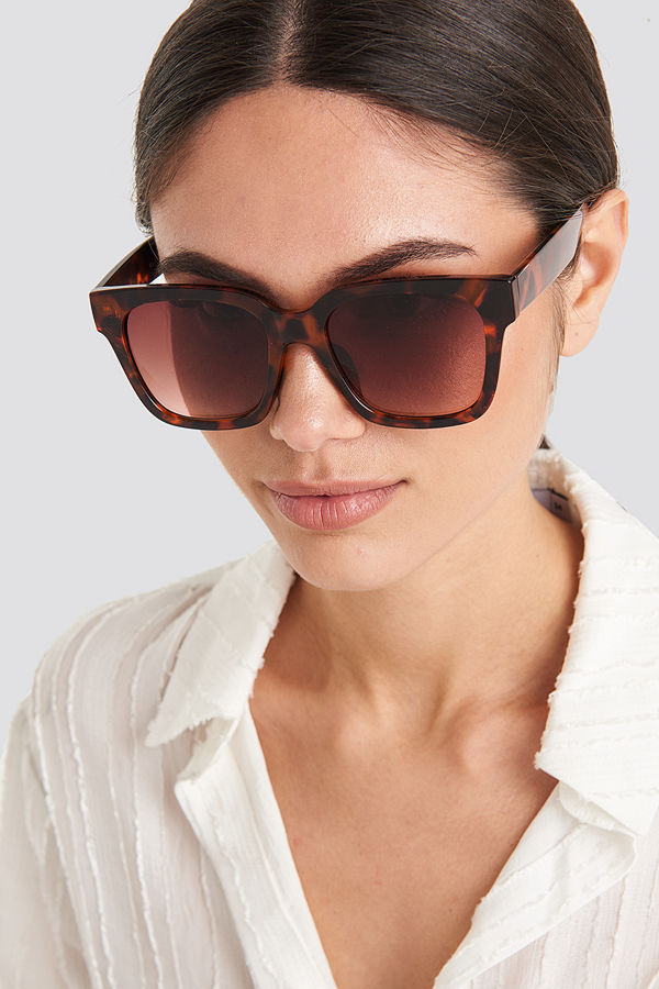 NA-KD Accessories Big Rounded Edge Sunglasses brun