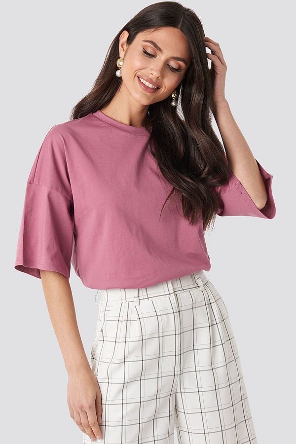 NA-KD Basic Oversized Boxy T-shirt rosa