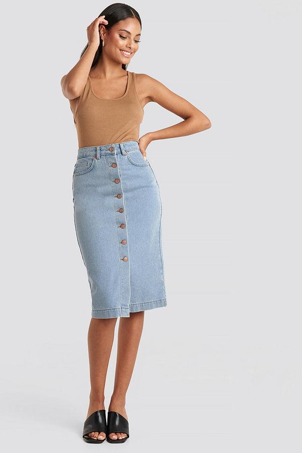 NA-KD Button Up Denim Midi Skirt blå