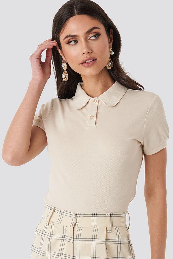 NA-KD Polo Neck T-shirt vit beige