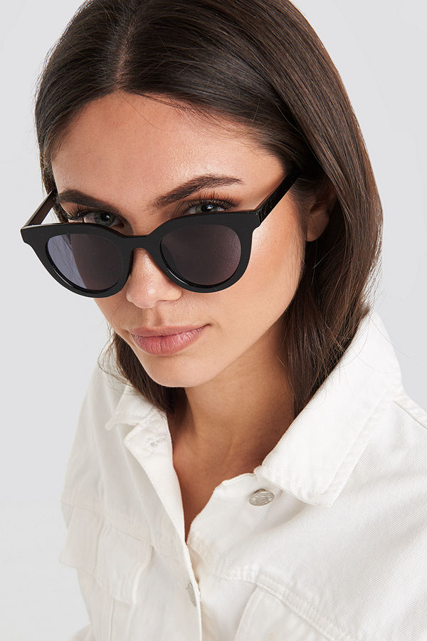 NA-KD Accessories Rounded Top Edge Sunglasses svart
