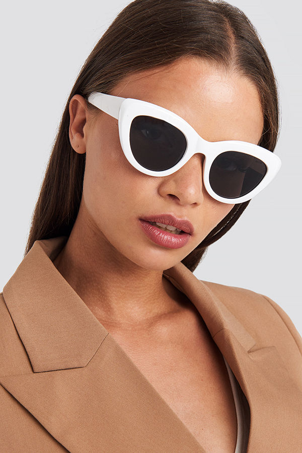 NA-KD Accessories Cat Eye Sunglasses vit