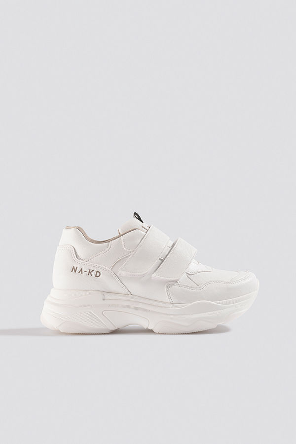 NA-KD Shoes Chunky Sneakers Velcro vit