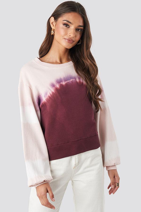 NA-KD Tie Dye Oversized Cropped Sweatshirt rosa lila