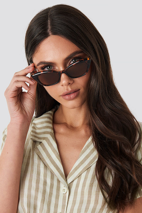 NA-KD Accessories Slim Pointy Cat Eye Sunglasses brun