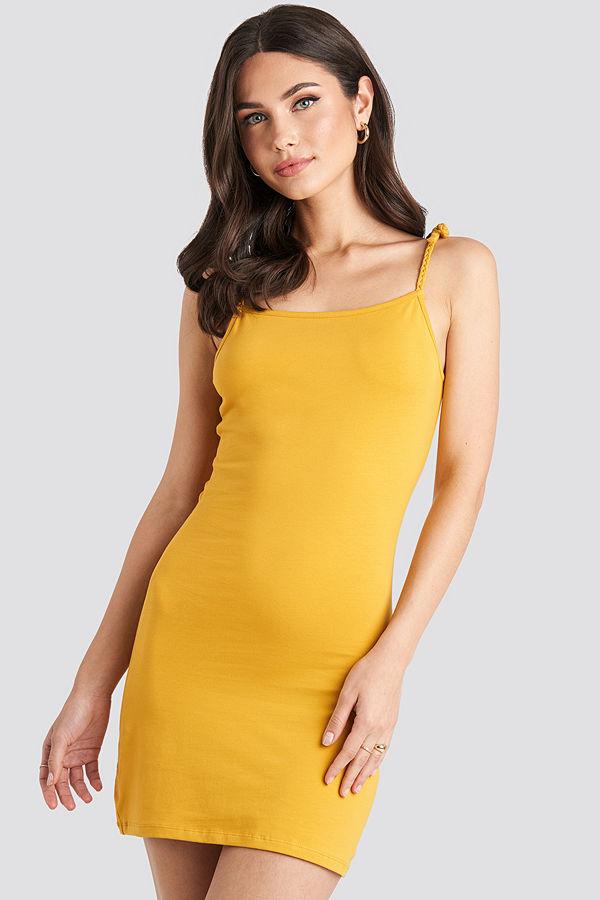 NA-KD Tie Strap Jersey Mini Dress gul