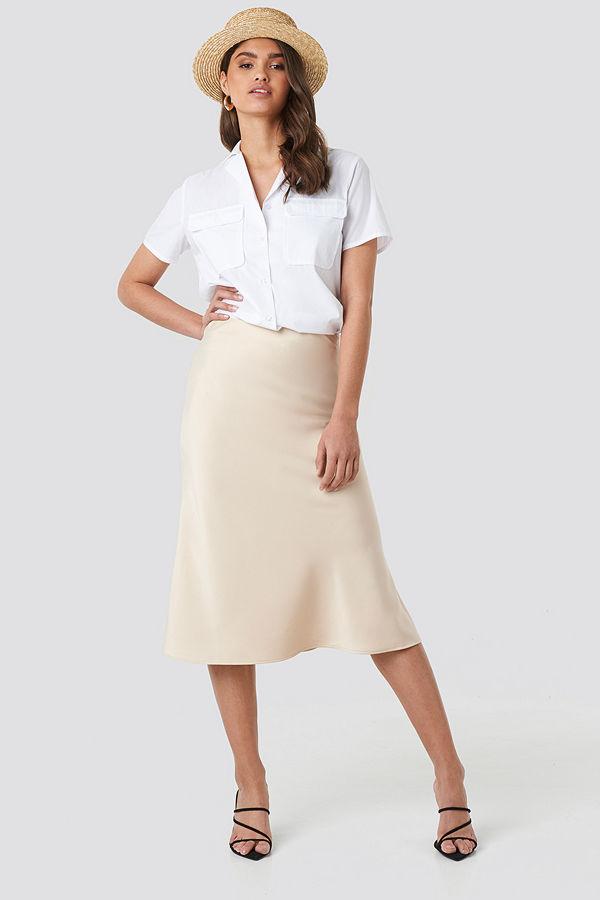 NA-KD Classic Satin Skirt beige