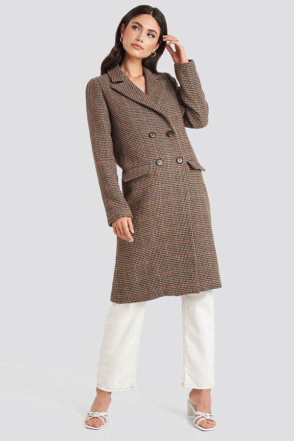 NA-KD Trend Brown Pepita Coat brun