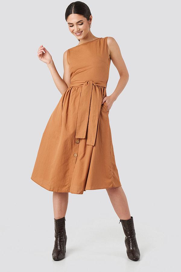Trendyol Front Button Binding Detailed Midi Dress orange