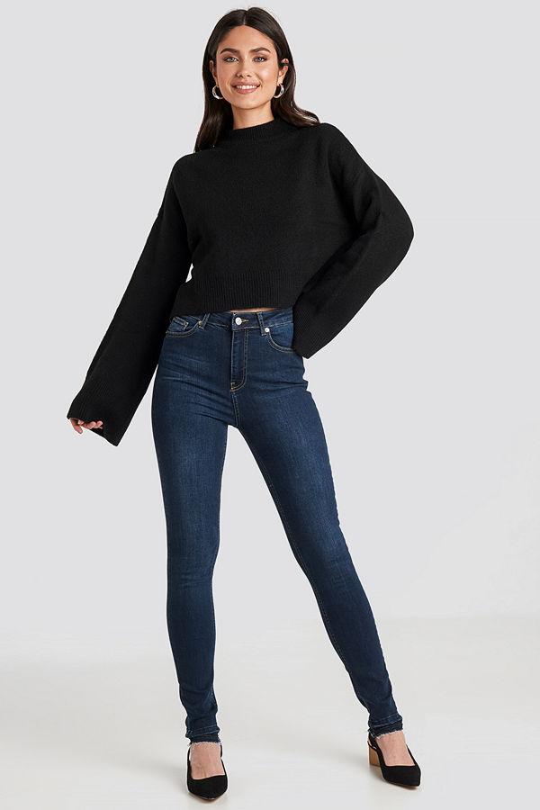 NA-KD Skinny High Waist Open Hem Jeans Tall blå