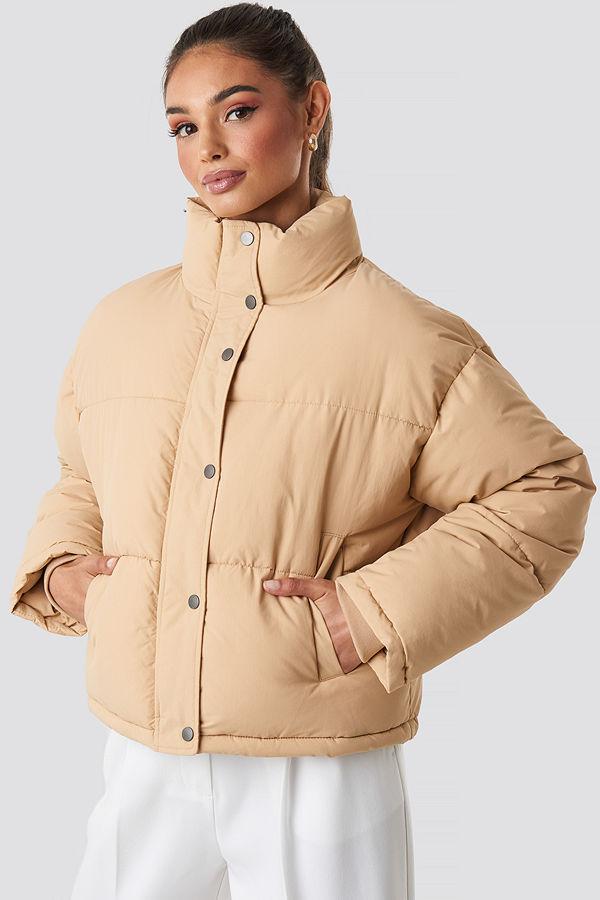 NA-KD Short Padded Jacket beige