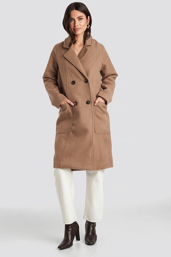 NA-KD Trend Big Pocket Coat beige