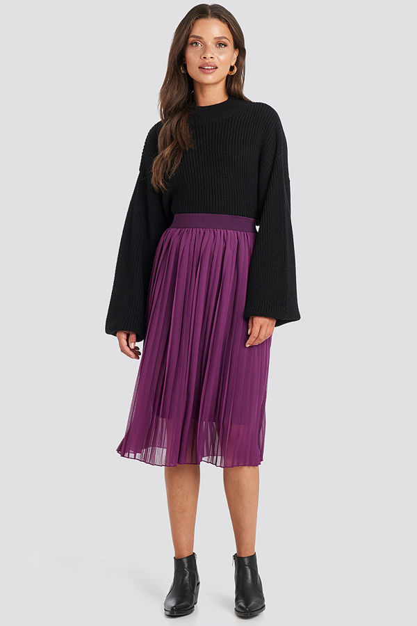 NA-KD Midi Pleated Skirt lila