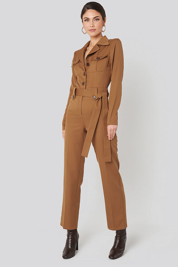 NA-KD Trend Front Pocket Tied Waist Jumpsuit brun