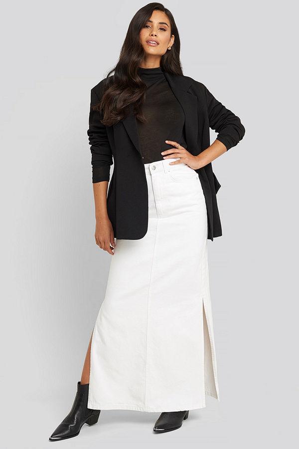 NA-KD Trend Side Split Maxi Denim Skirt vit