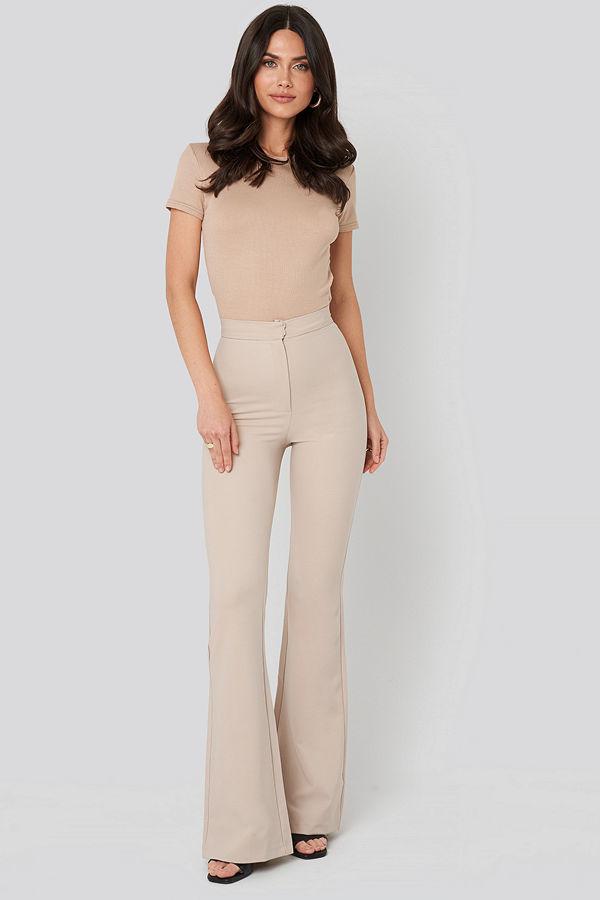Trendyol omönstrade byxor Spanish Hem Trousers beige