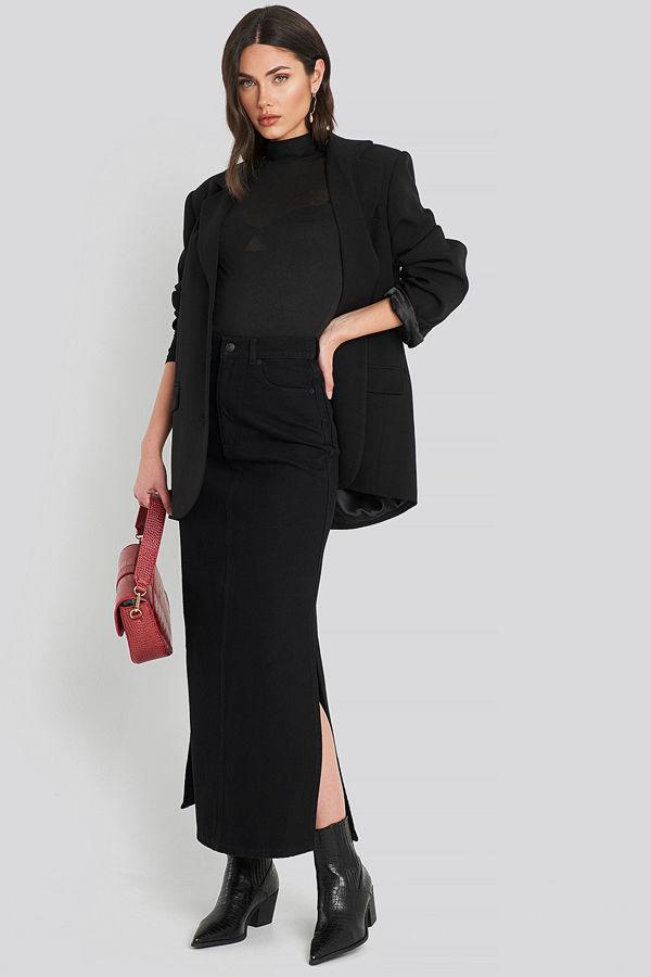 NA-KD Trend Side Split Maxi Denim Skirt svart