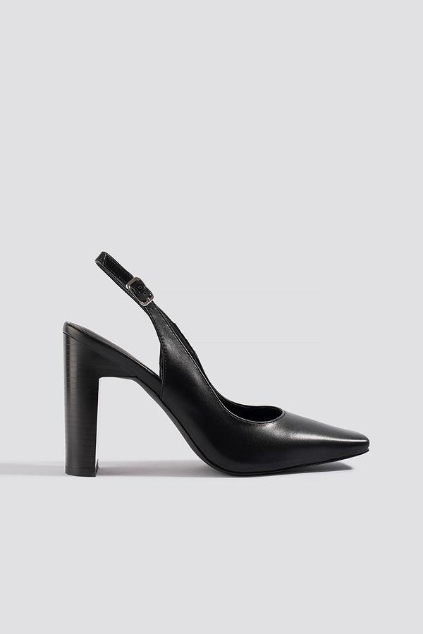 NA-KD Shoes Squared Front Slingback Pumps svart
