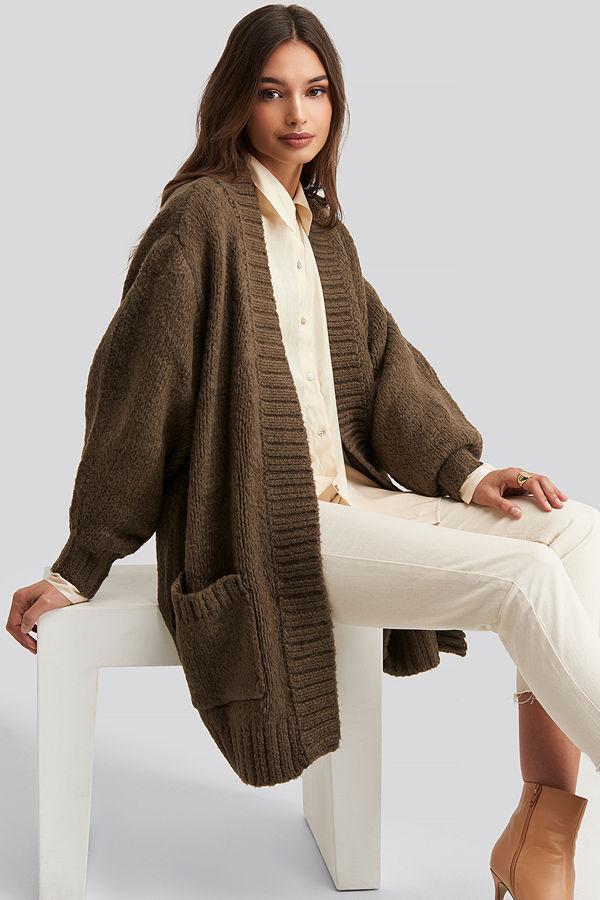 Trendyol Pocket Detailed Cardigan brun